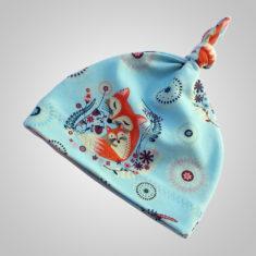 Selbstgenähte Mütze für Kinder (türkis/orange)