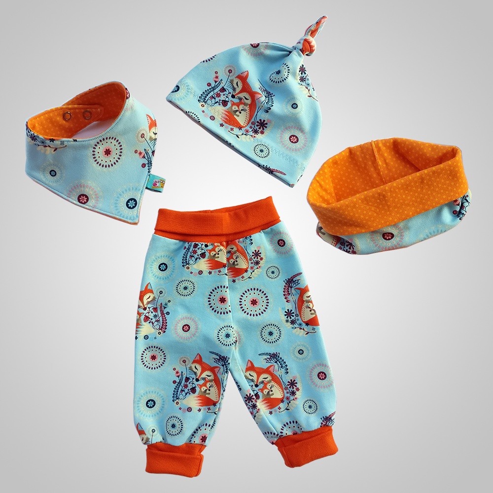 Kinderkleidung-Geschenkset (türkis/orange)